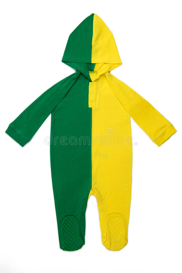 Baby clothes Hoody Brazil. Long Sleeve Hoody Baby clothes in Brazilian colors on white background royalty free stock photo