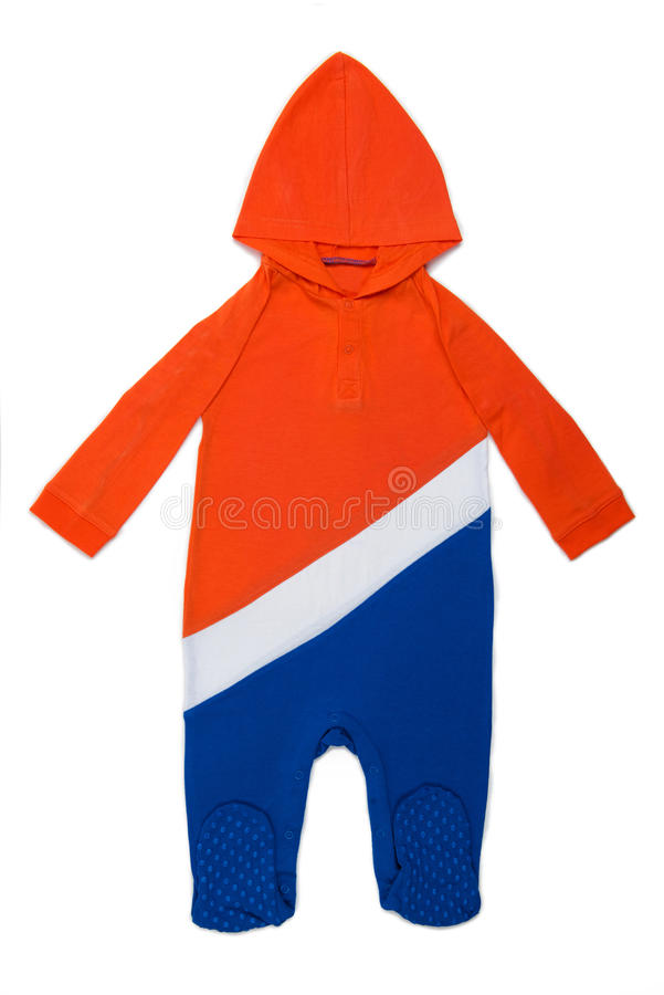 Baby clothes Hoody Holland. Long Sleeve Hoody Baby clothes in Dutch colors on white background royalty free stock photo