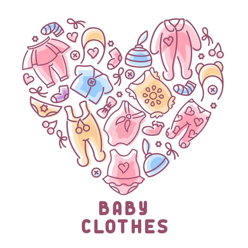 Baby clothes icons set with inscription stock illustration