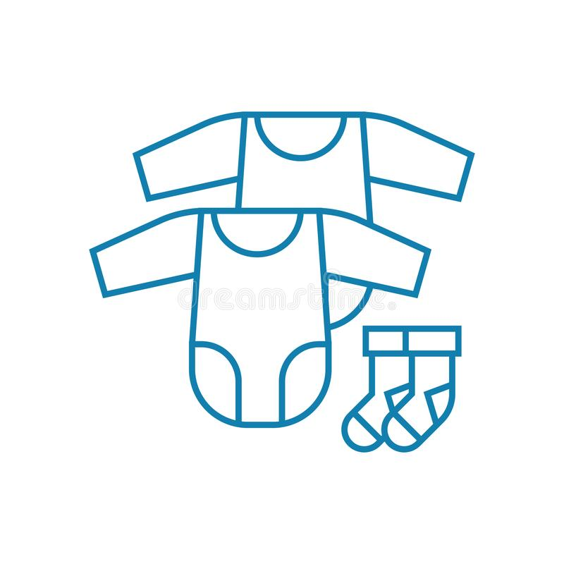 Baby clothes linear icon concept. Baby clothes line vector sign, symbol, illustration. Baby clothes line icon, vector illustration. Baby clothes linear concept stock illustration