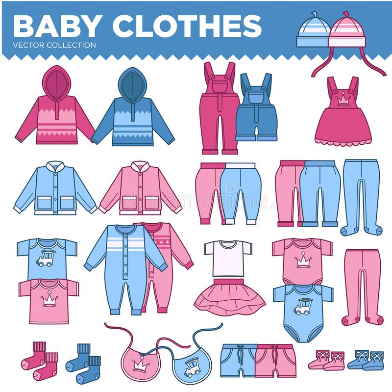 Download Baby Clothes For Little Boys And Girls Collection Stock Vector