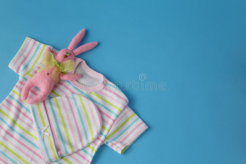 Baby clothes for newborn. In pastel colors stock photography