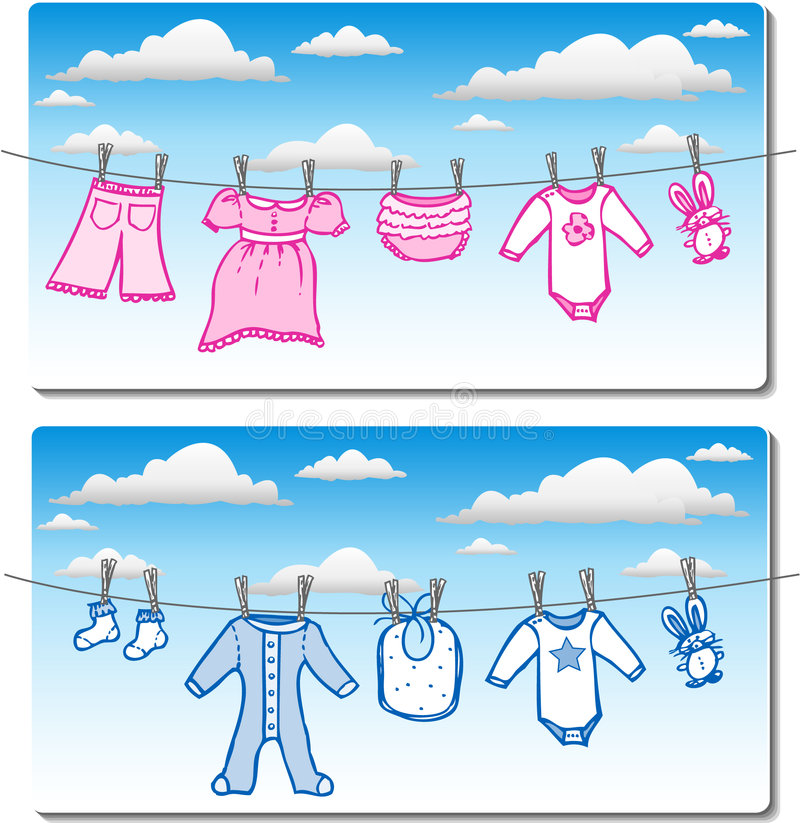 Free Baby Clothes On Clothes Line Stock Photo - 2877540