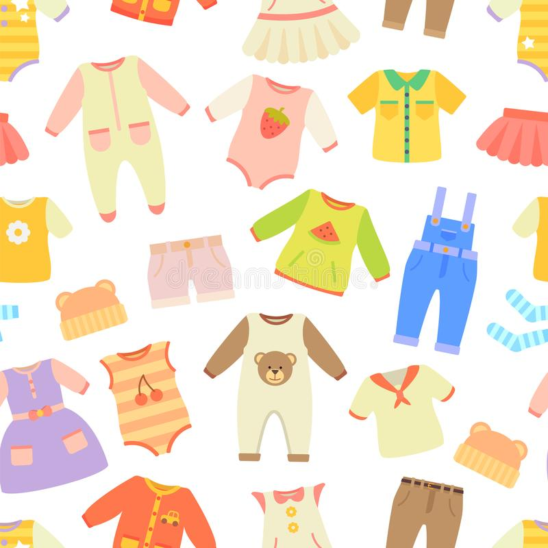 Baby Clothes Seamless Pattern Vector Illustration stock illustration