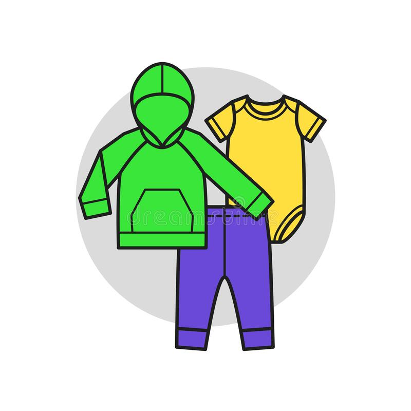 Baby clothes. Set for boy. Vector illustration in linear style royalty free stock images