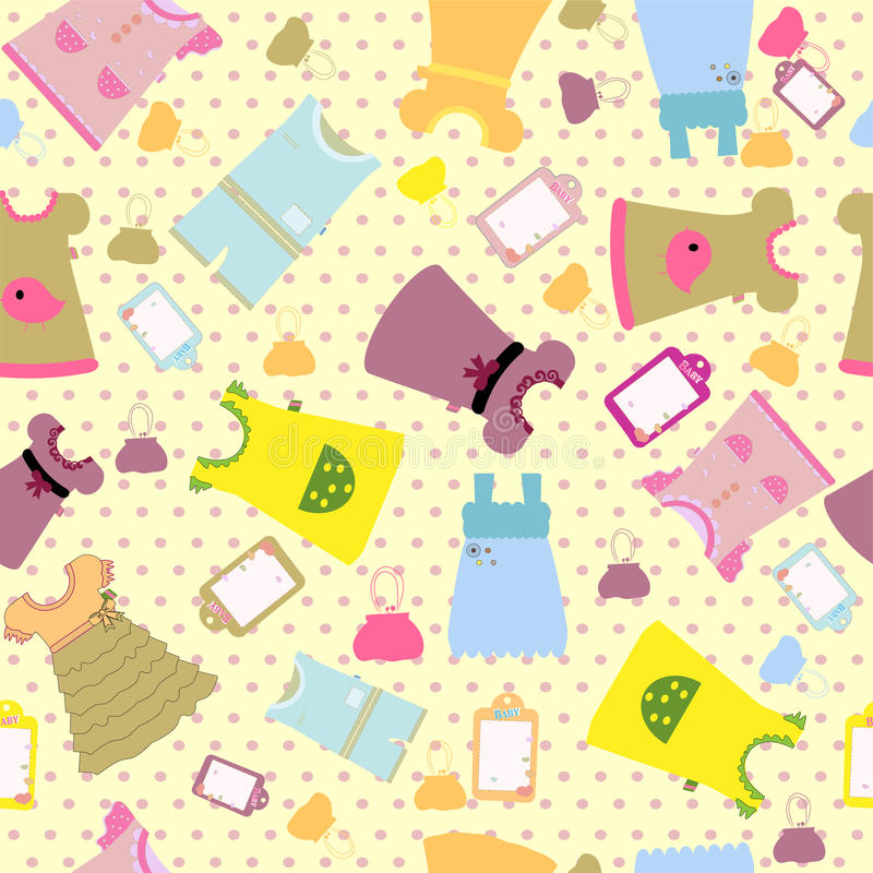 Baby clothes set seamless pattern - funny design. Art stock illustration