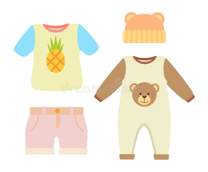 Baby Clothes T-shirt and Hat Vector Illustration vector illustration