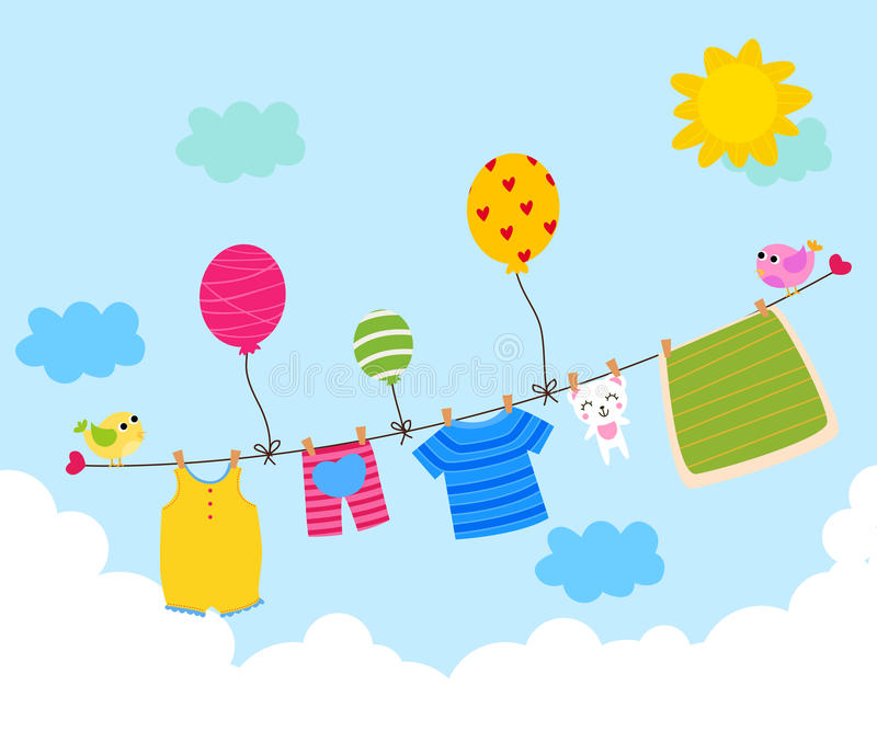 Baby clothesline royalty free illustration