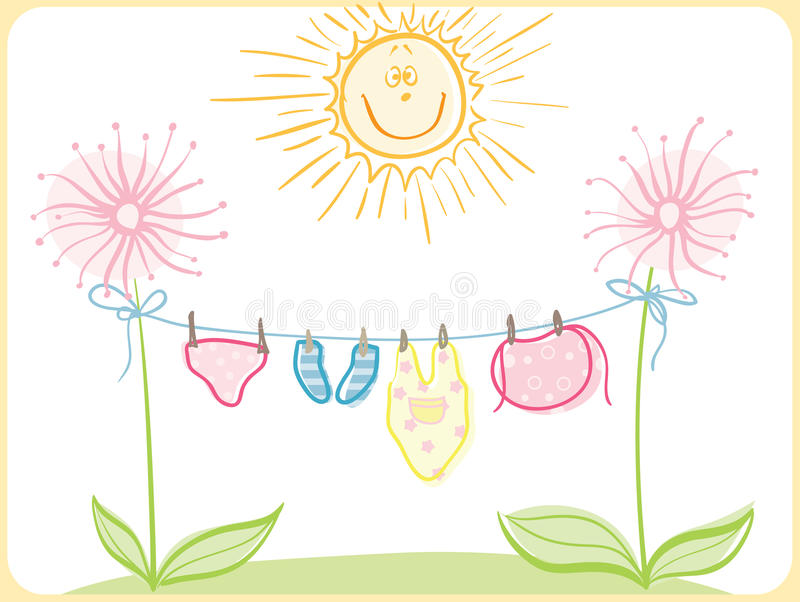 Baby clothing. And sun and flowers vector illustration
