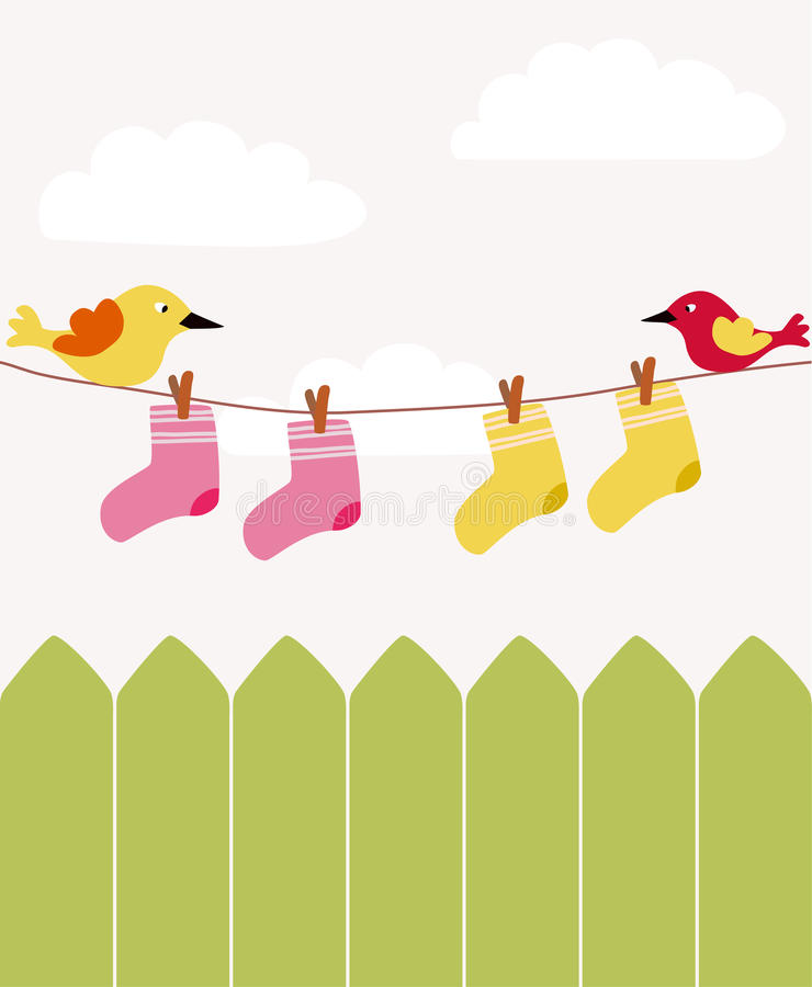 Baby clothing. And two birds royalty free illustration