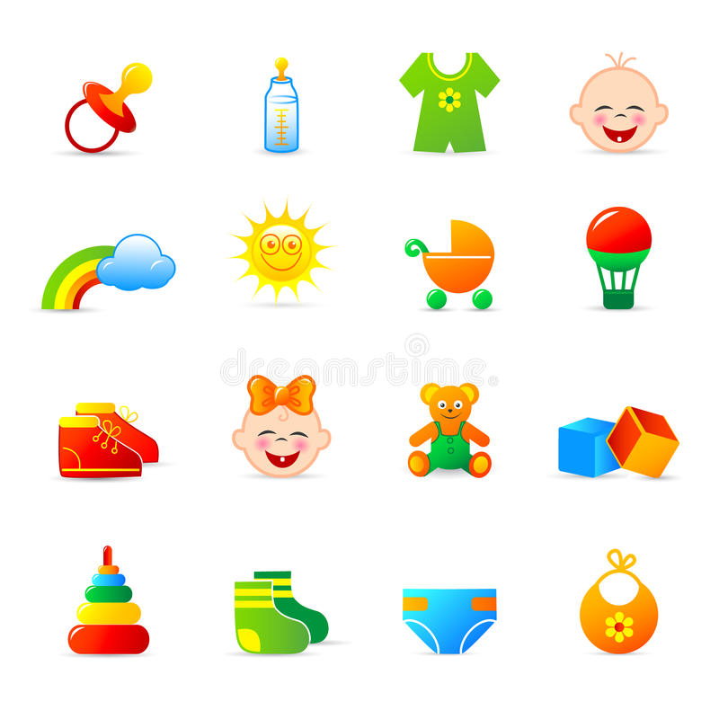 Download Baby Clothing And Accessories Icons Stock Vector - Illustration of button, nipple: 12010364