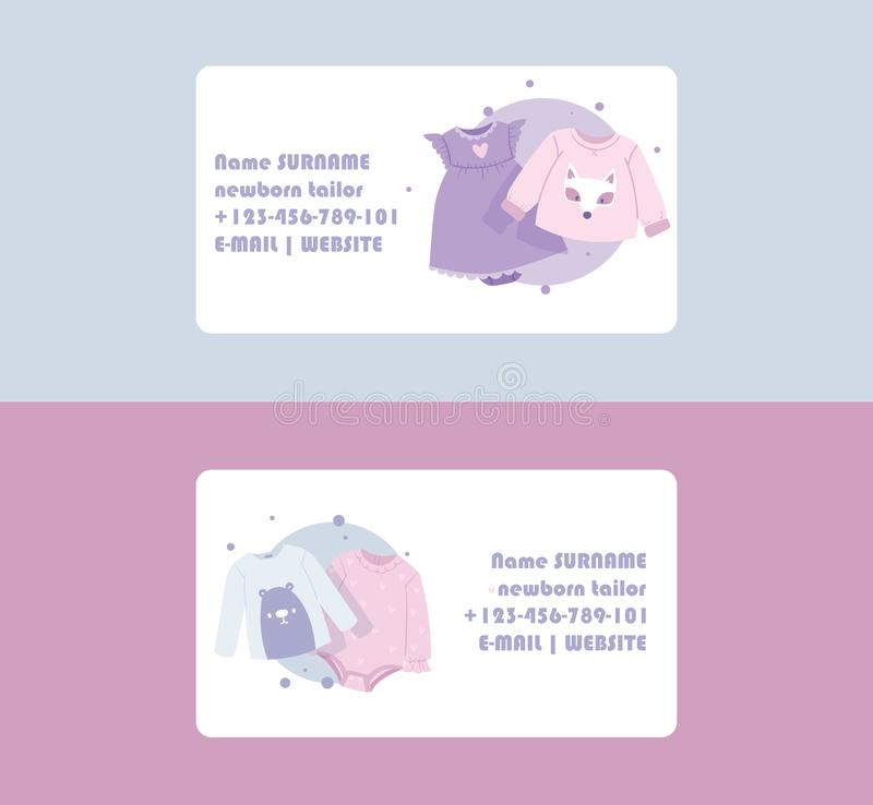 Baby clothing business card vector cartoon kids clothes newborn garment child bodysuit apparel for children advertising. Shopping business-card set backdrop vector illustration