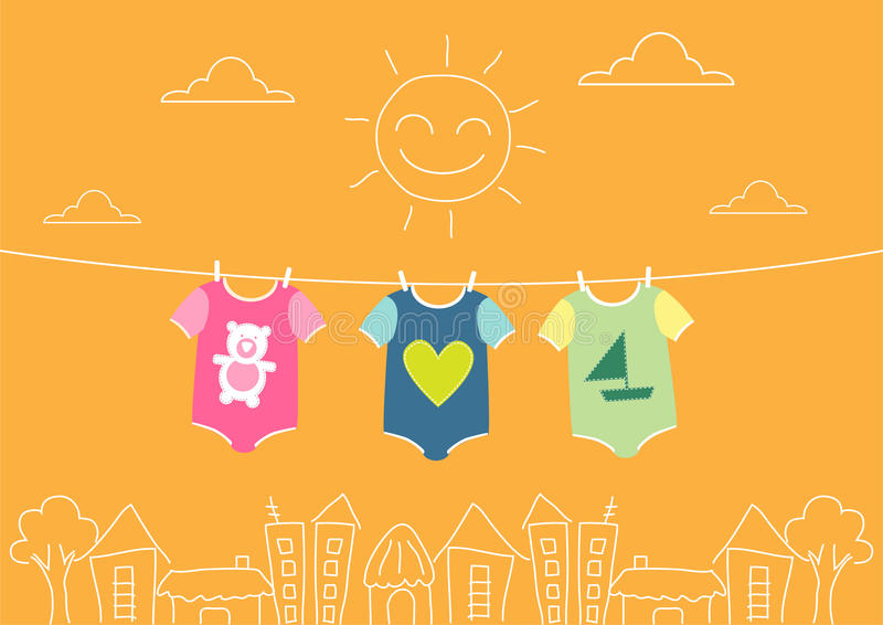 Baby clothing on clothespin on morning,Vector illustrations. Baby clothing on clothespin on morning stock illustration