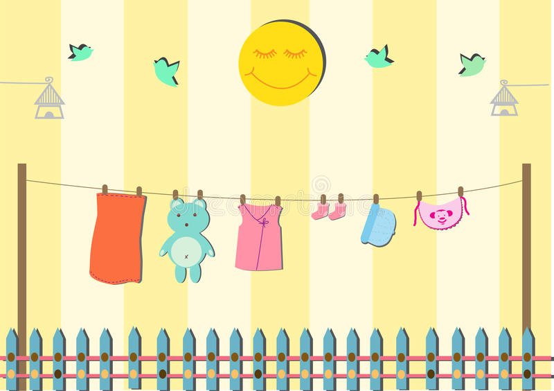 Baby clothing on clothespin. Baby shower card vector illustration