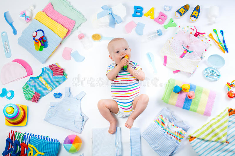 Baby With Clothing And Infant Care Items Stock Photo Image Of