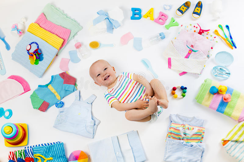 Baby With Clothing And Infant Care Items Stock Image Image Of Care