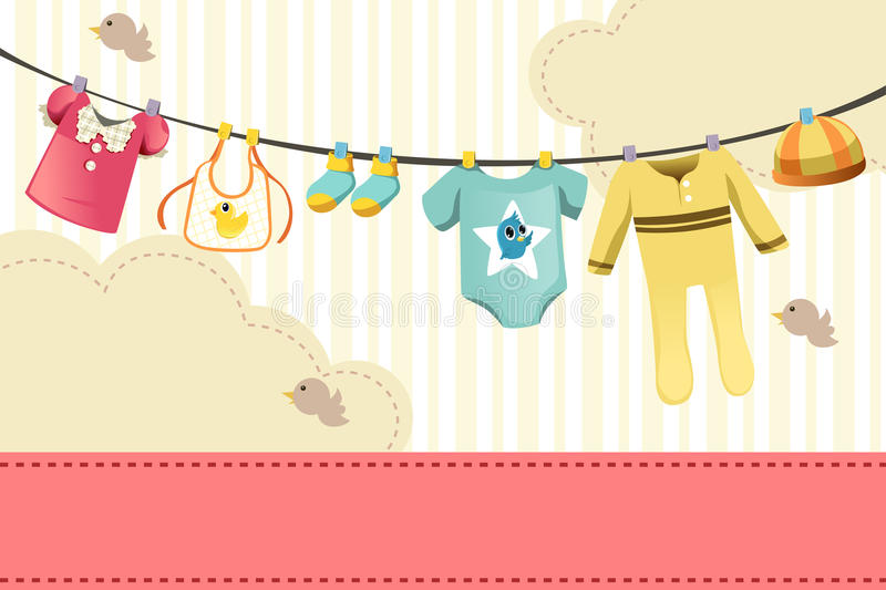 Baby clothings. A vector illustration of baby clothings on clothespin stock illustration