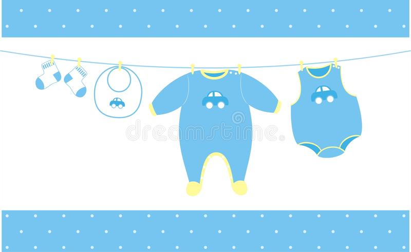 Baby cloths hanging. Baby cloths illustration, ideal for baby shower theme, individual objects very easy to edit royalty free illustration