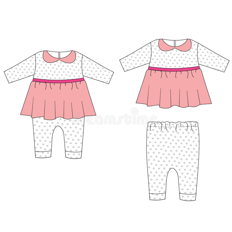 Baby cloths set, baby girl outfit stock illustration
