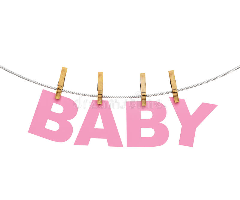 Download Baby Colorful Letters Hanging On Rope With Clothespins, Isolated  On White Stock Illustration