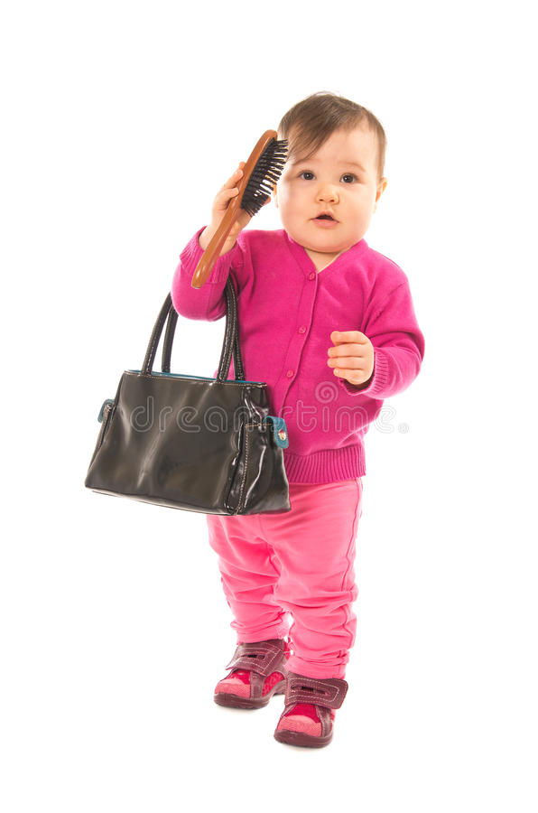 Download Baby with comb stock image. Image of isolated, pink, girl - 24766235