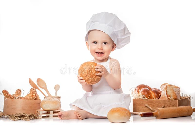 Baby Cook Sits On The Table Bread Bread Flour Stock Image ...