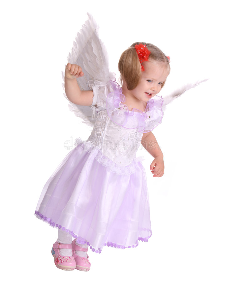 Baby in costume of angel. royalty free stock photos