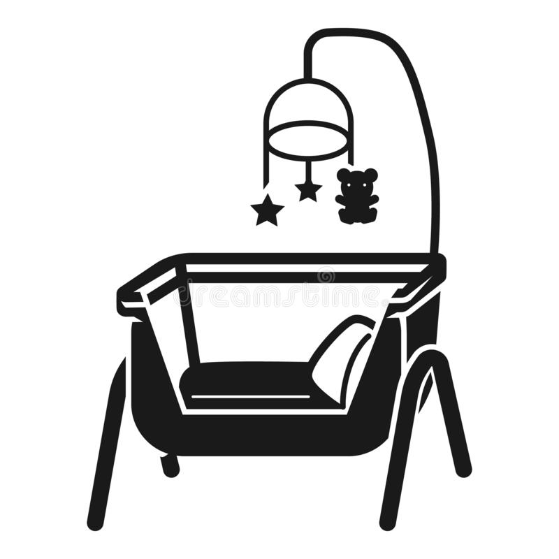 Baby cot icon, simple style royalty free illustration