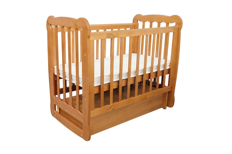 Baby cot. Isolated under the white background stock images