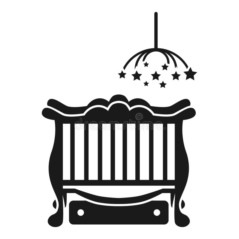 Baby cot with laundry box icon, simple style. Baby cot with laundry box icon. Simple illustration of baby cot with laundry box vector icon for web design royalty free illustration
