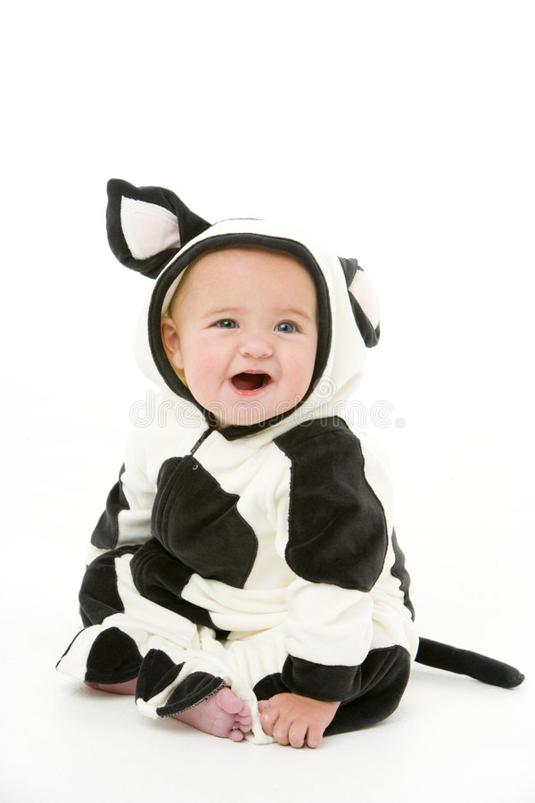 Baby In Cow Costume Royalty Free Stock Photo
