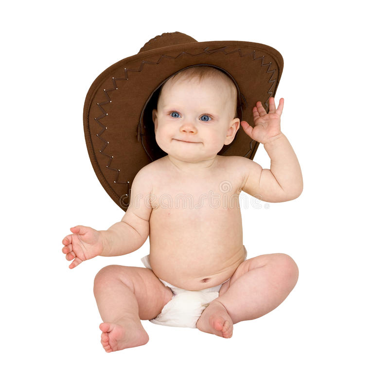 Baby in cowboy hat royalty free stock photo