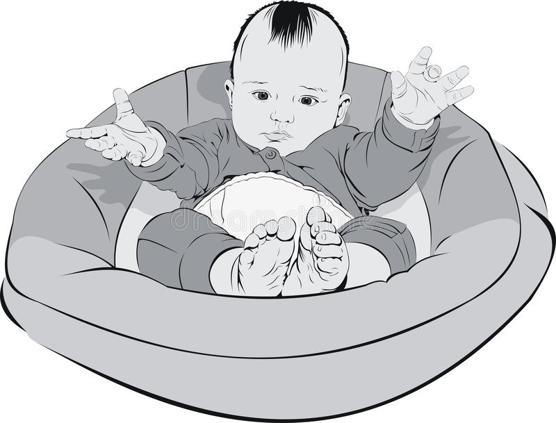 Download Baby in cradle stock vector. Image of white, beautiful - 16692867