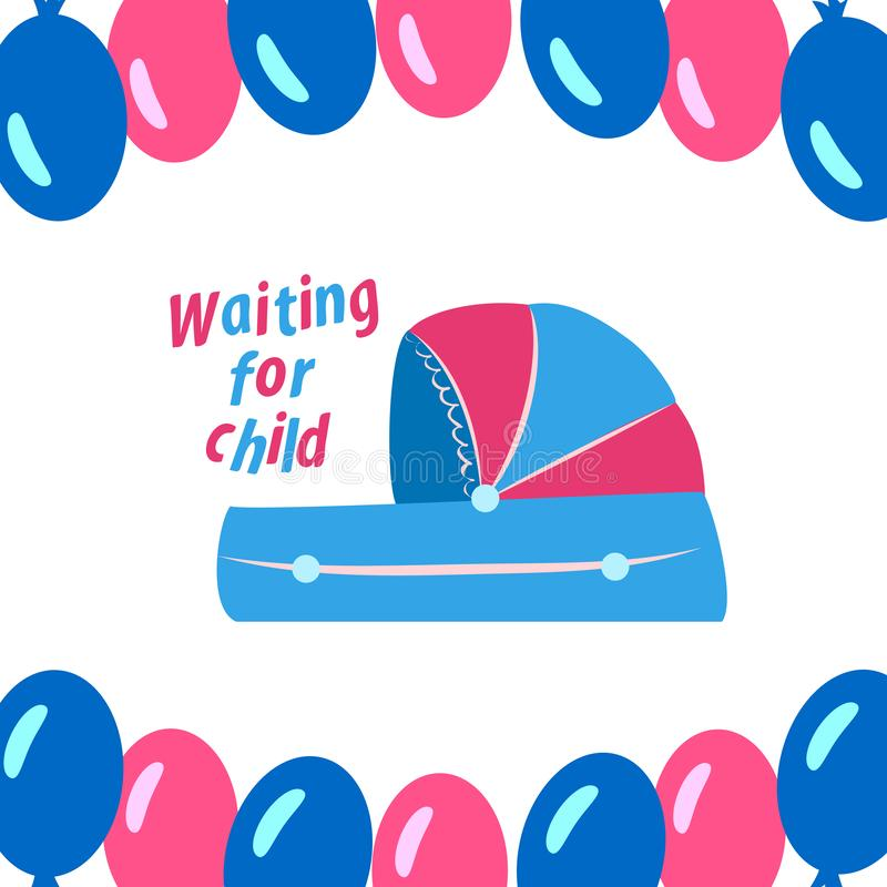 Baby cradle for newborns with blue and pink balls. Vector illustration royalty free illustration