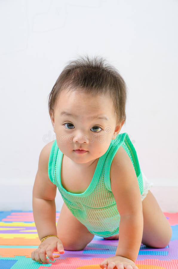 Download Baby crawl and looking. stock photo. Image of little - 39383452
