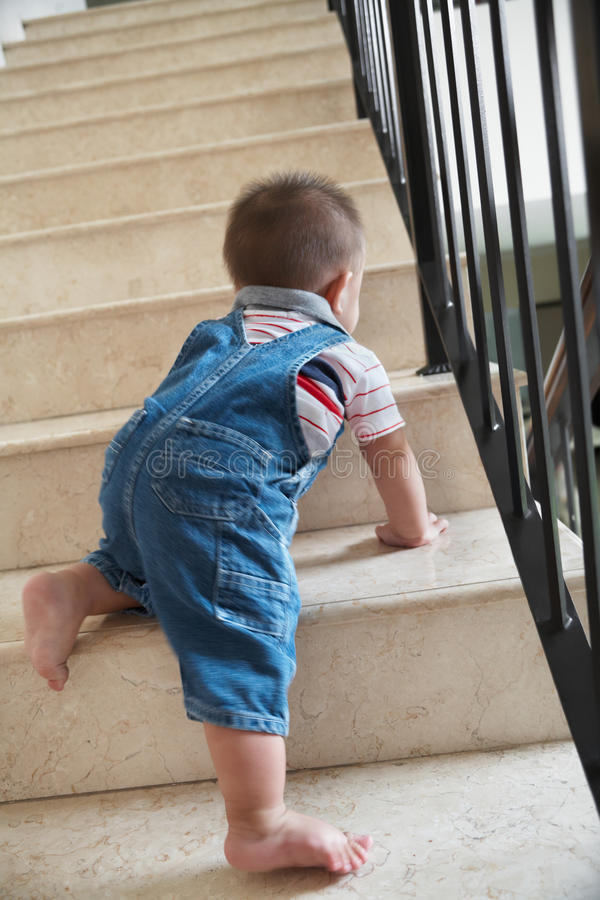 Free Baby Crawling Alon On Stairs Stock Image - 24045311
