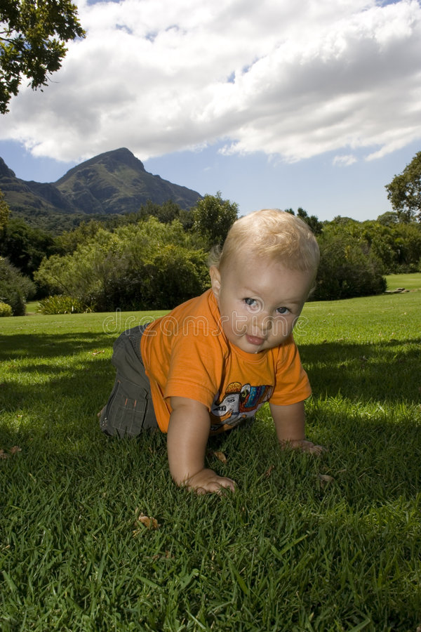 Download Baby Crawling On Grass Outdoors Royalty Free Stock Images - Image: 1988869
