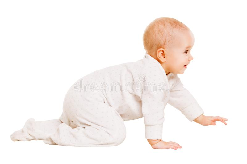 Baby Crawling, Happy Infant Child Crawl Isolated White Background, Girl one year old royalty free stock photos