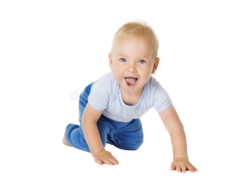 Baby Crawling over White Background, Happy Kid, Child Boy royalty free stock photos