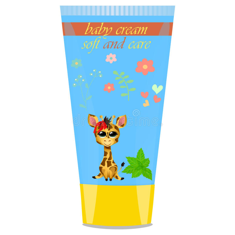 Baby cream tube with kids design. High quality original trendy vector Baby cream tube with kids design and giraffe, mint illustration royalty free illustration
