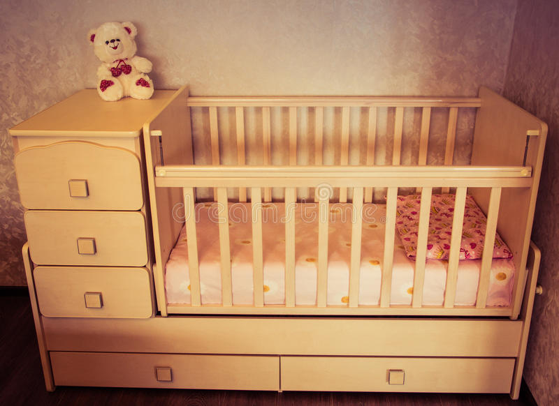Baby crib. Bed for child.  royalty free stock photo