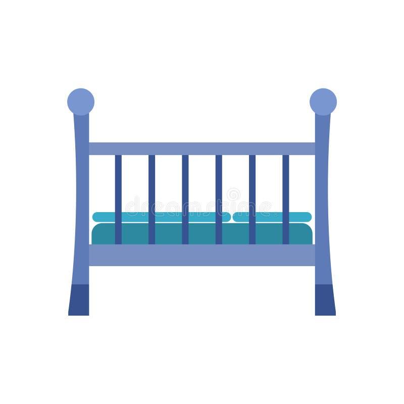 Baby Crib icon, Wooden Crib Stock Vector royalty free illustration