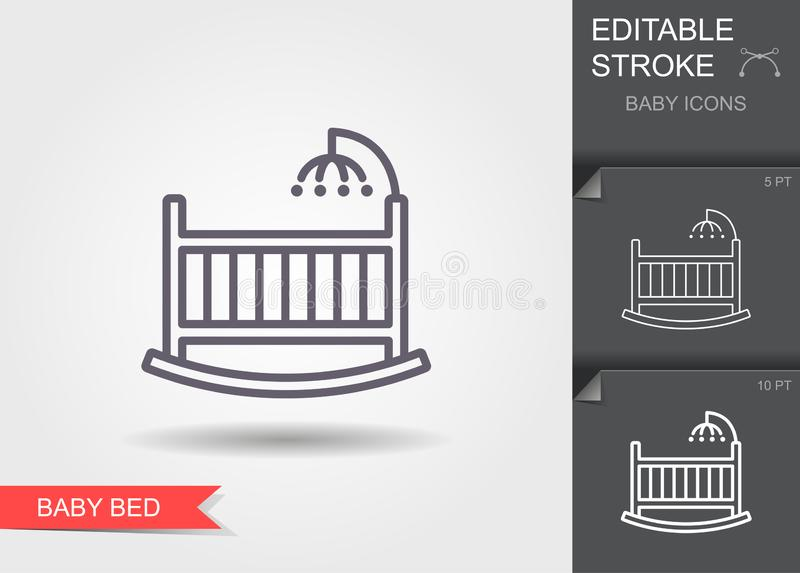 Baby crib or infant bed with hanging toys. Line icon with editable stroke with shadow stock illustration