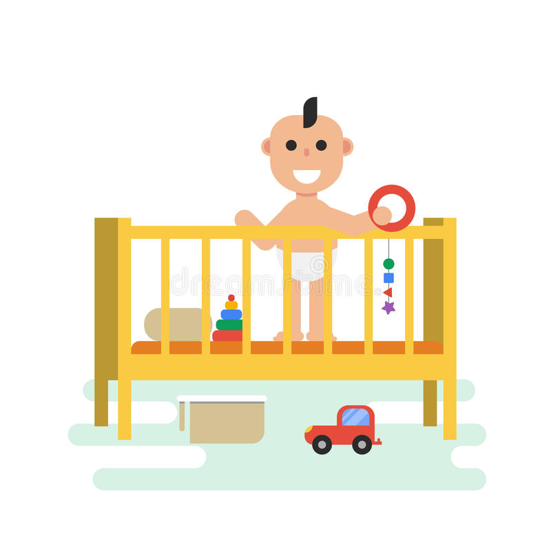 Baby in crib with toys stock illustration
