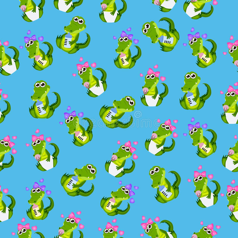 Baby crocodile or alligator. Very high quality original trendy seamless pattern with baby crocodile or alligator with nipple and diaper stock illustration