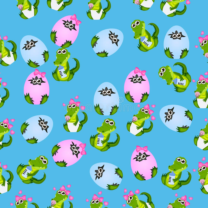 Baby crocodile or alligator. Very high quality original trendy seamless pattern with baby crocodile or alligator with nipple and diaper vector illustration