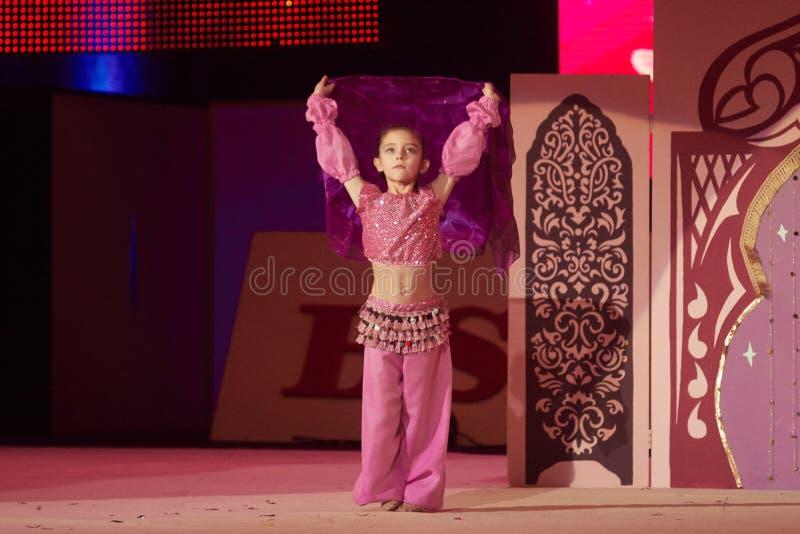'Baby Cup - BSB Bank' children's competitions in gymnastics , 05 December 2015 in Minsk, Belarus. MINSK, BELARUS DECEMBER 05: Nikitina Anastasiya from ' royalty free stock images
