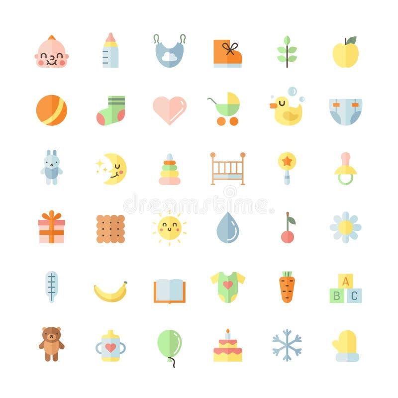 Baby cute big flat icons vector set. stock illustration