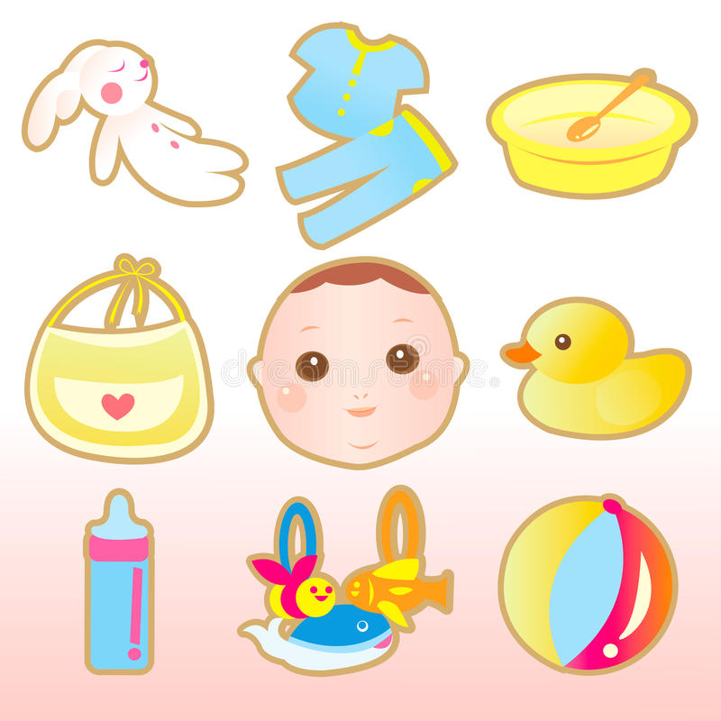Baby cute elements stock illustration