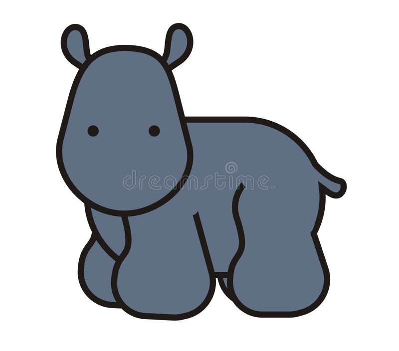 Baby cute hippo stock illustration